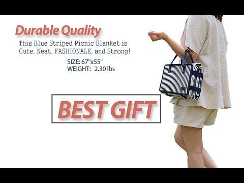PortableAnd Large Picnic & Outdoor Blanket Blue Stripe