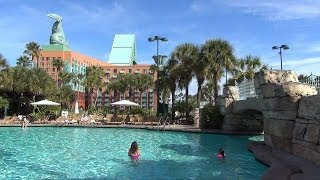 Walt Disney World Swan & Dolphin Pools, Beach - Grotto Pool, Water Slide POV, Jacuzzis, Swan Boats