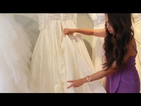 Instructions to Bustle a Gown : Wedding Dress Tips - YouTube