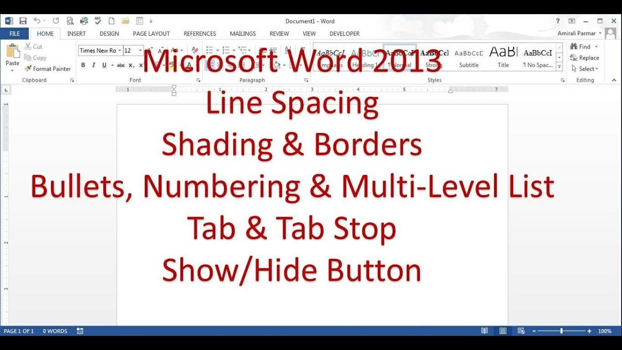 Microsoft Office Free Trial >> Microsoft Word 2013/2016 pt 3 (Line spacing, Borders, Tab