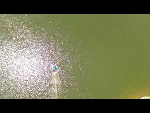 Drone flight over Lake Lakengren Marina