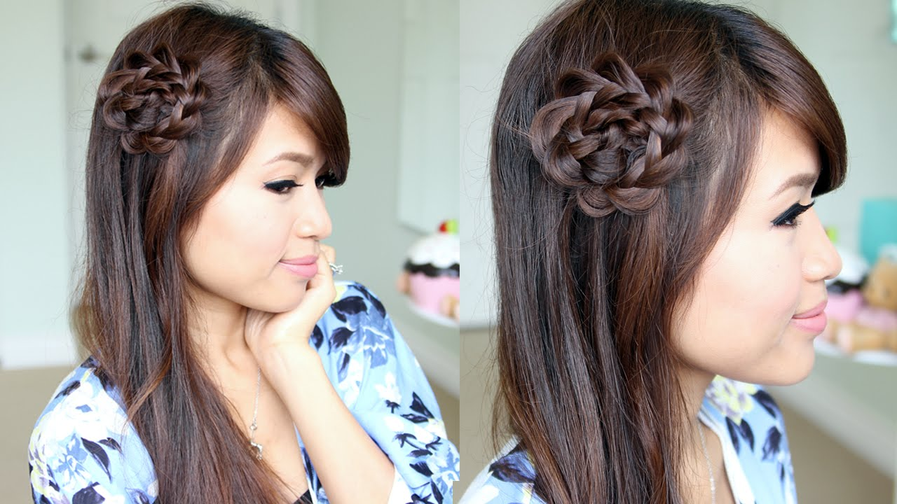 Rosette Flower Braid Hairstyle for Medium Long Hair Tutorial - YouTube