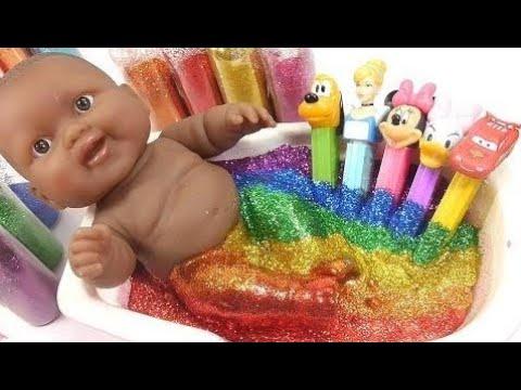 Baby Puppe Pez Glitter Schleim Bad Diy Lernen Farben Schleim Küche Sammlung