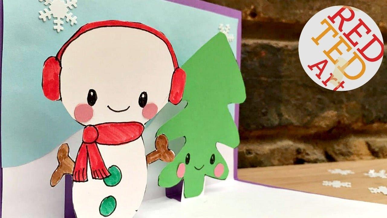 Diy Christmas Cards Snowman Pop Up Card Learn To Draw A Snowman Easy Snowman Diy