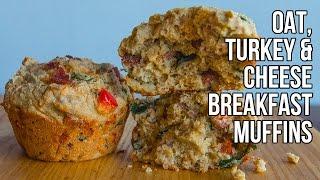 Hi-Protein Oat, Turkey & Cheese Breakfast Muffins / Muffins de Desayuno con Queso