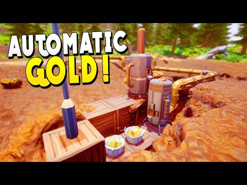 Automatic Gold Using Water And Machines - Hydroneer Gameplay - Early Access
