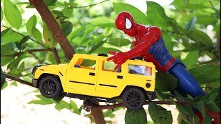 Spiderman Help the car toy on the tree.   Motorcycle toys , Dump truck, Cement truck