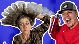 1,000 LAYERS OF HAIRSPRAY ON MOM! *she freaked out*