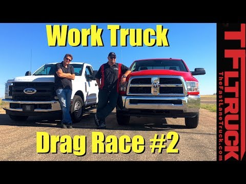 Ford F250 vs Ram 2500: Gas V8 Work Truck Drag Race #2