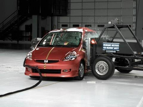 2007 honda fit side iihs crash test youtube for Honda crv crash test