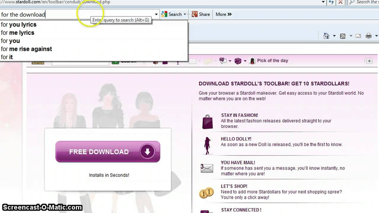 stardoll toolbar
