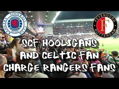 Rangers 1 - Feyenoord 0 - SCF Hooligans & Celtic Fan Charge Rangers Fans - 19 September 2019