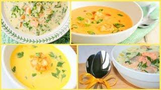 Готовим с Тинкой - 2 сырных супчика(Сырный суп с креветками и пастой и Сырный суп с семгой)