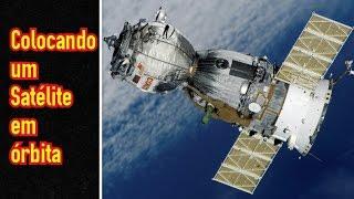 Lançamento de satélite, colocando em órbita