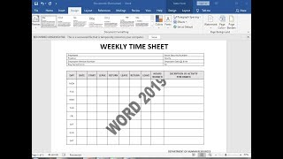 Lesson 13 How To Make Weekly Time Sheet On Ms Word 2019 Youtube