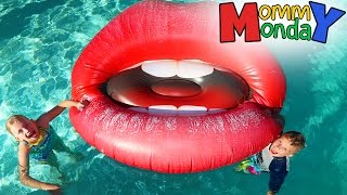 there s giant lips in our pool    mommy monday