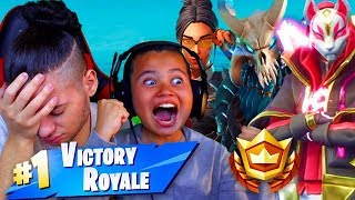 1 KILL 1 BATTLE PASS SKIN FOR MY 9 YEAR OLD BROTHER! 'NOUVEAU' SEASON 5 SKINS FORTNITE BATTLE ROYALE!!