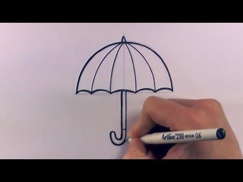 How to Draw a Cartoon Umbrella