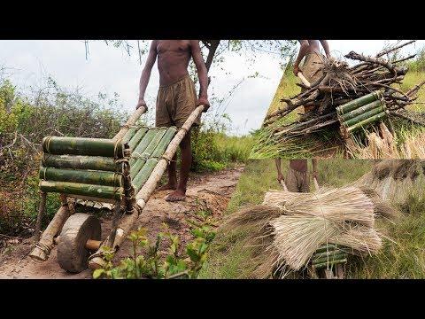 Wooden wheelbarrow cart - carrying loads in building works