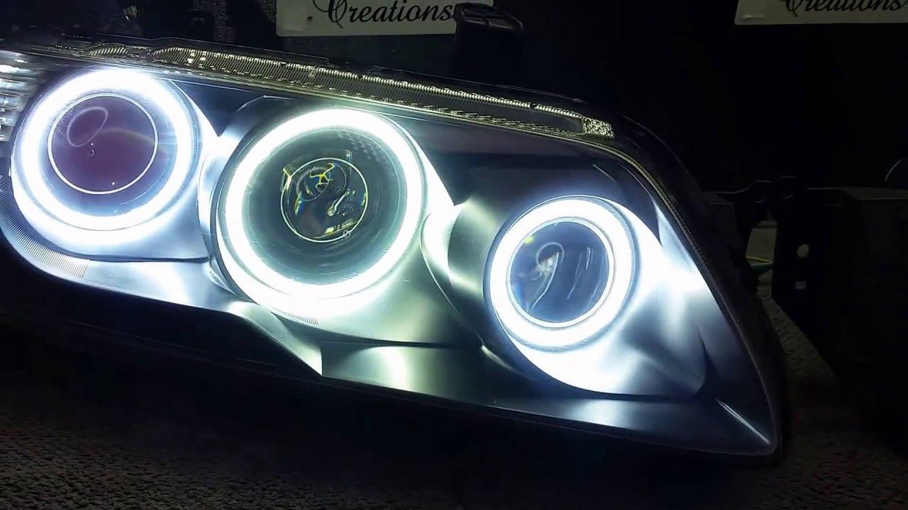 Evo 9 Headlights >> Mitsubishi EVO 7/8/9 VII VIII IX custom headlights white/amber LED rings triple red projector ...