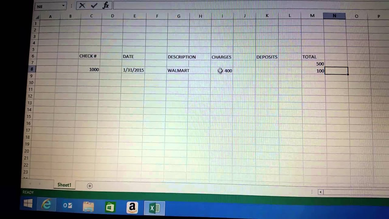 create checkbook on microsoft excel budget youtube