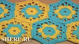 Joining Crochet Motifs With Flower Together Урок 39 часть 2 из 2 Шестиугольный мотив с цветком
