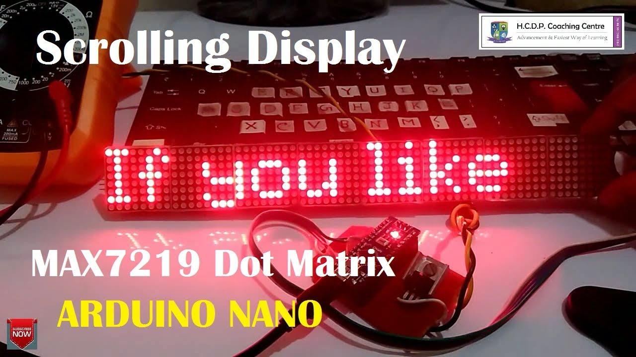 Scrolling Display using Max7219 and Arduino Nano
