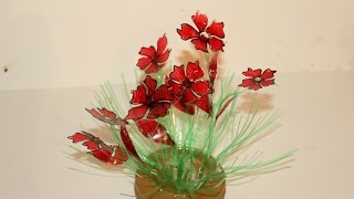 Best Out Of Waste Plastic bottles transformed to lovely Red Flower plant Showpiece