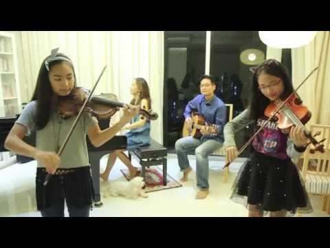 เพลง ลอยกระทง - Loy Krathong Song - 2 violins + piano + guitar - (Note & Pin  Sisters + Mom & Dad)
