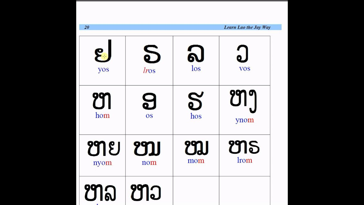 Free Printable Lao Alphabet Flash Cards