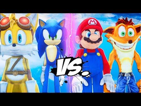 Sonic The Hedgehog & Miles Tails VS Mario & Crash Bandicoot