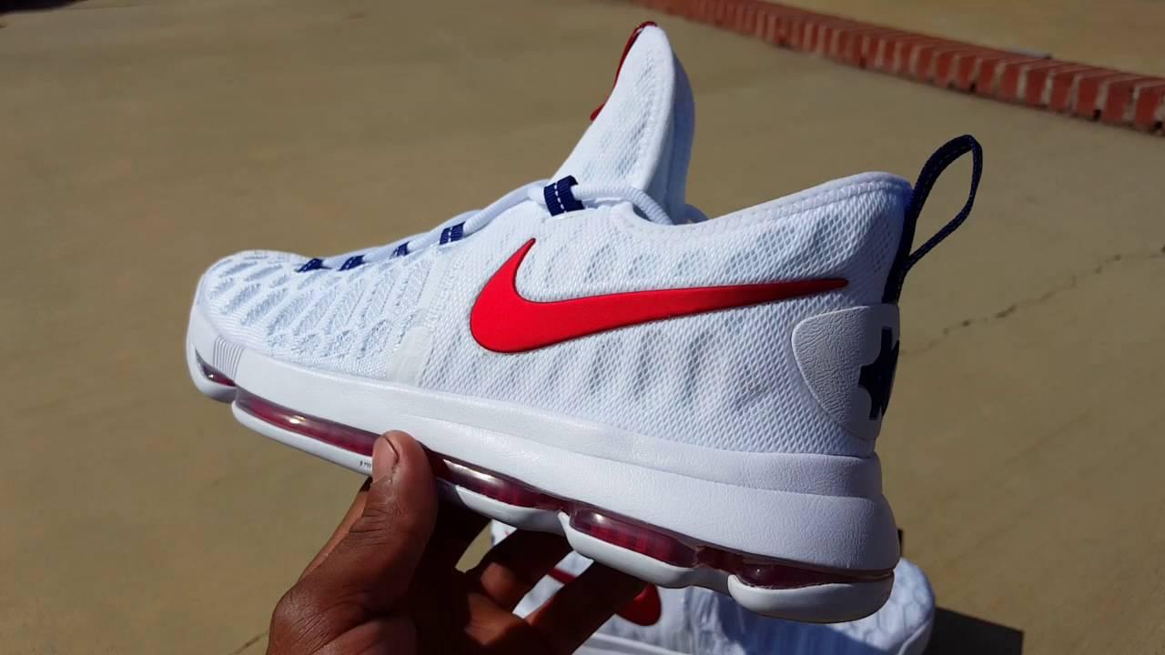 Nike KD 9 Boys' Grade School Basketball Shoes White/Black