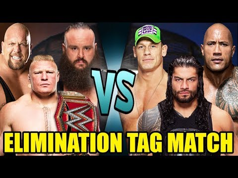 John Cena, The Rock And Roman Reigns Vs Lesnar, Big Show And Strowman (Elimination Tag)