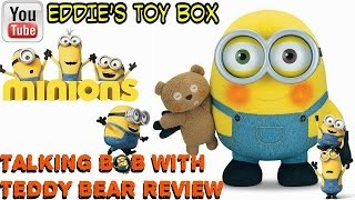 Minions: Talking Bob with Teddy Bear Light Up Plush Toy Review! Minions Movie!