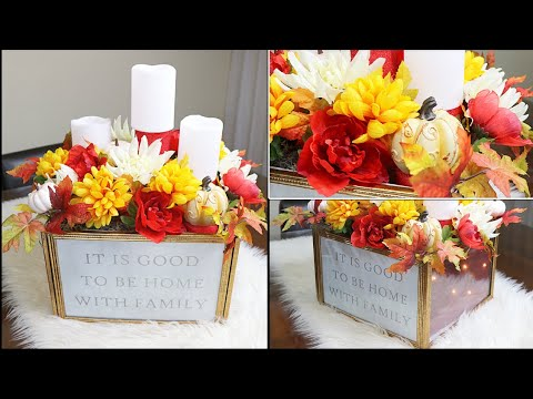 DIY DOLLAR TREE FALL CENTERPIECE WITH LIGHTS