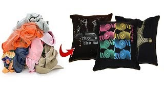 2 ways to convert or reuse Old tshirt into pillow cover | Learning Process