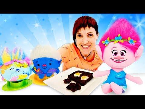 Маша Капуки и Розочка готовят завтрак для Троллей. Видео для детей - Обучающие мультики