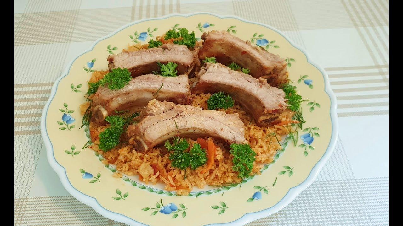 Мясо в маринаде с жареным рисом!