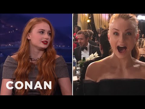 Sophie Turner Creeped On Ryan Gosling & Steve Carell  - CONAN on TBS