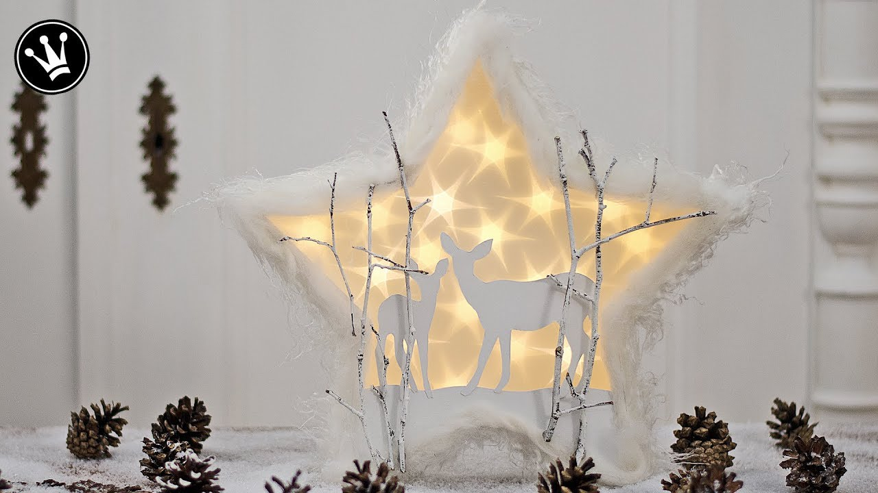 Diy Weihnachtsdeko.Diy Weihnachtsdeko Mit Sterneffekt Folie Winterlandschaft Mit Reh Gewinnspiel Auflösung