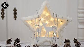 DIY - Weihnachtsdeko mit Sterneffekt - Folie | Winterlandschaft mit Reh | Gewinnspiel Auflösung