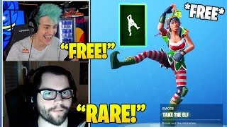 STREAMERS Reacts TO *FREE* 'TAKE The Elf' Emote/DANCE In Fortnite! (Fortnite FUNNY Moments)