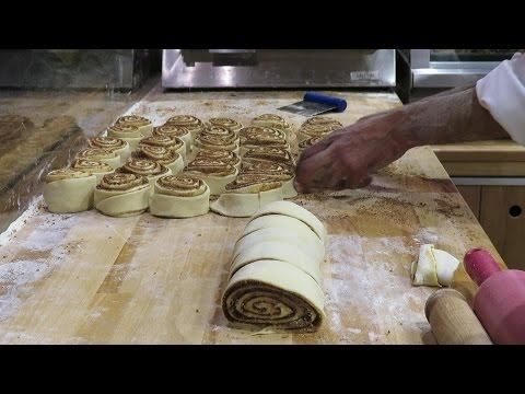 London Street Food. Making Sweet Cinnamon Roll and Strudel