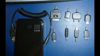 Portable 5000mAh Mobile External Battery Power Pack w / Adaptadores - Negro