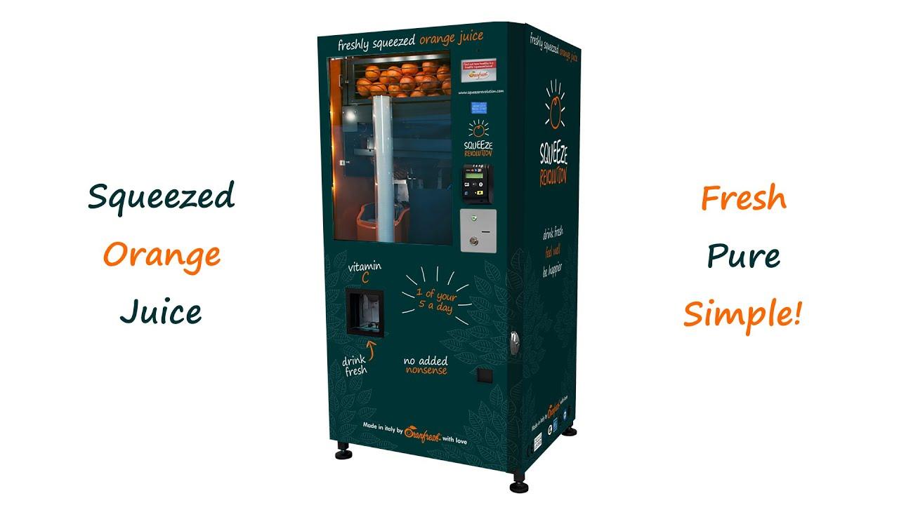 orange juice vending machine squeeze revolution youtube. Black Bedroom Furniture Sets. Home Design Ideas
