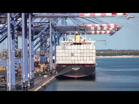 Loading a Cargo Ship at Freeport Harbor, Bahamas