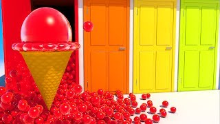 Teach Colors with Ice Cream and Colored Doors for Kids and Children