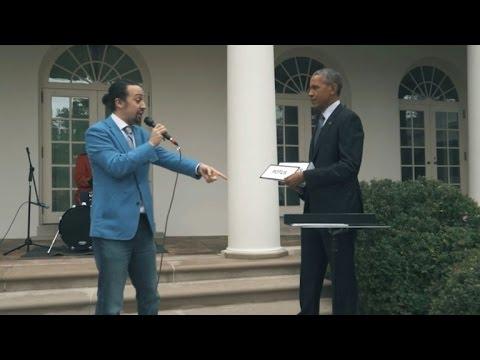 WATCH: 'Hamilton' Star Lin Manuel Miranda Freestyle Raps with President Obama