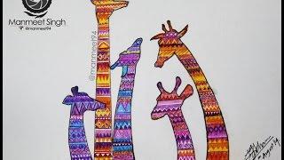 Aztec Giraffes (Timelapse Drawing)