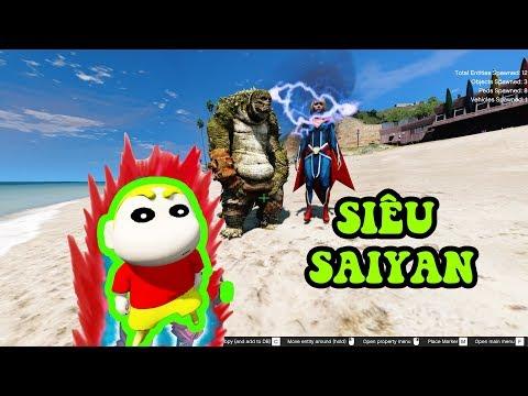 GTA 5 - Shin (cậu bé bút chì) biến thành siêu Saiyan cứu mẹ | GHTG